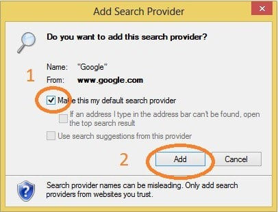 change internet explorer search engine to google