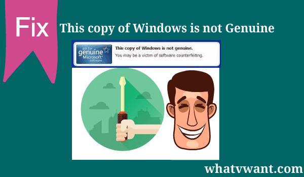 windows not genuine error fix