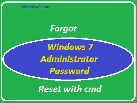 forgot windows 7 administrator password is reset with cmd