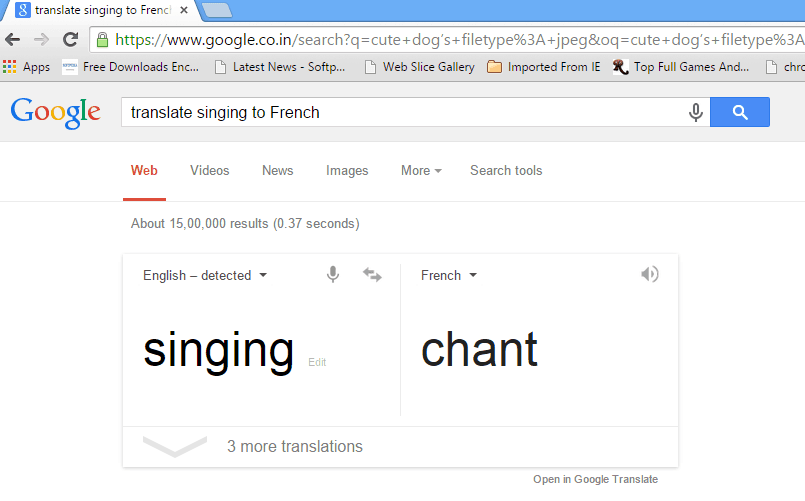 translate singing to French