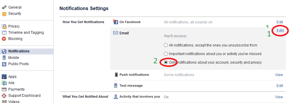 Disable facebook email notifications