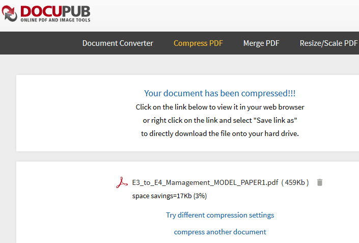 Online pdf compression tool
