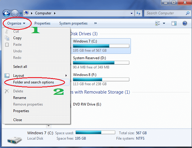 how to hide files in windows 7