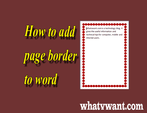 Page border in word
