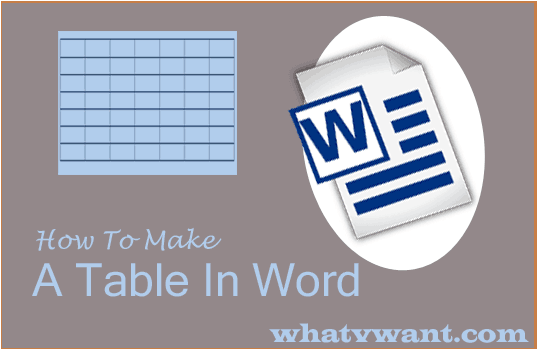 How to make a table in word