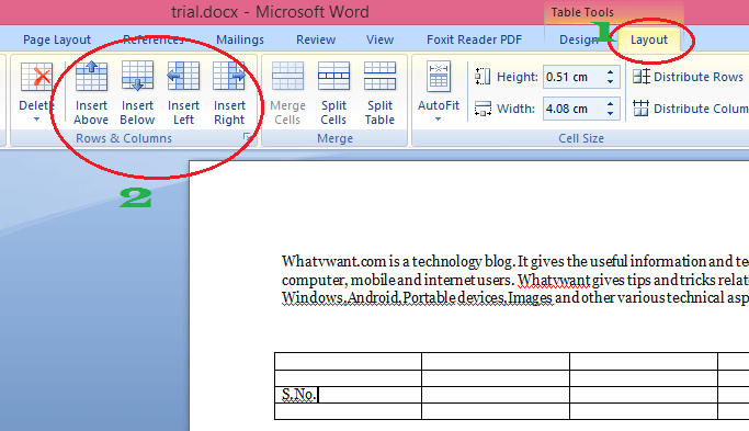 Insert column in word table
