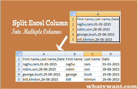 Split columns in excel