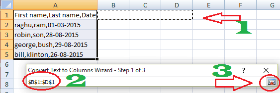splitting columns in excel
