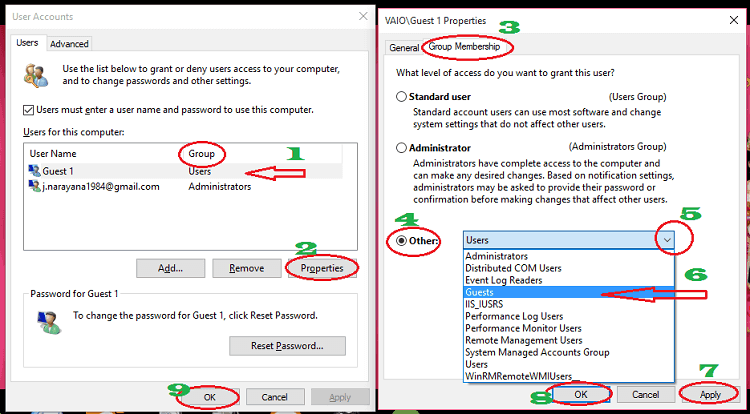 change account type in windows 10