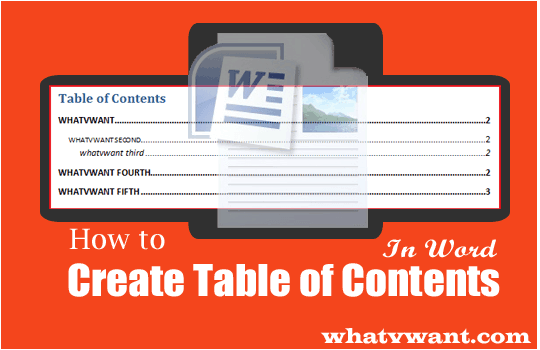 create table of content in word