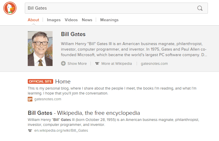 best search engine duckduckgo billgates