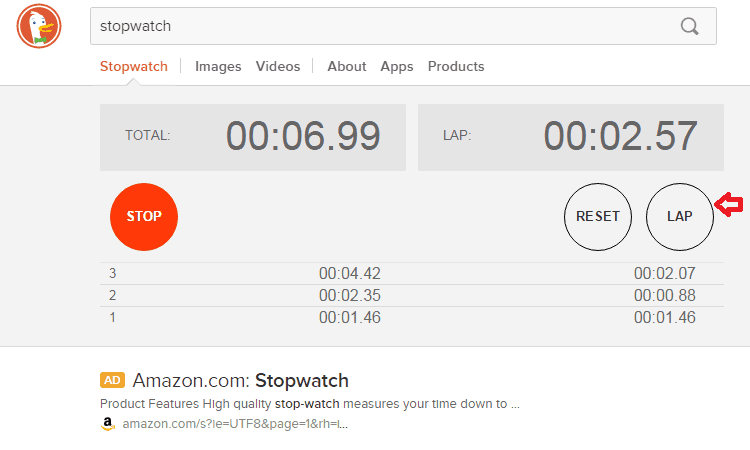 top search engines duckduckgo stopwatch
