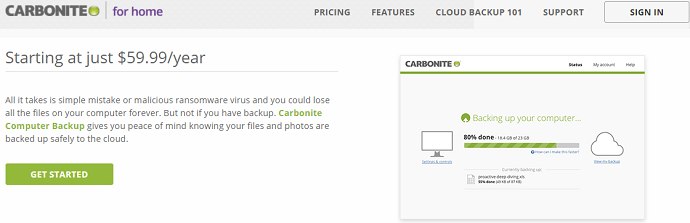 carbonite home page