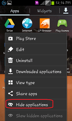 Hide downloaded apps android