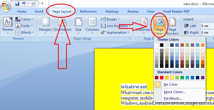 How To Change Word Document Background Color