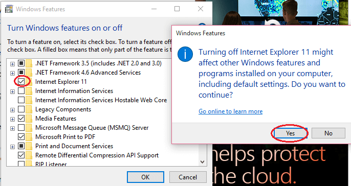 Uninstall IE11