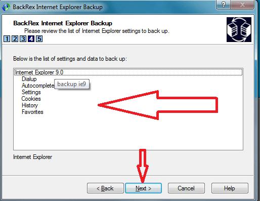 Backup internet explorer