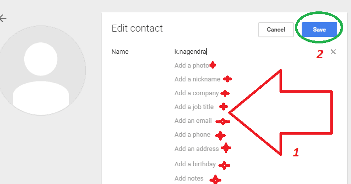 gmail contacts list