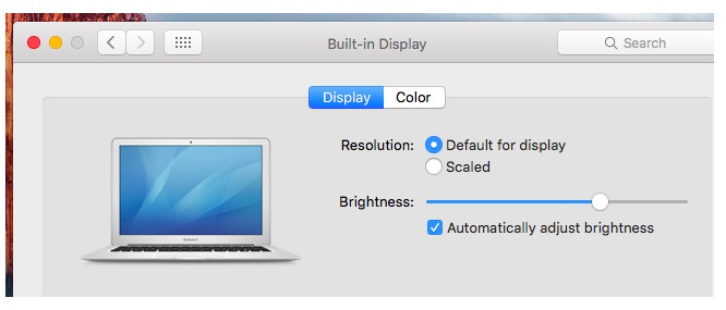 Adjust brightness through System Preferences