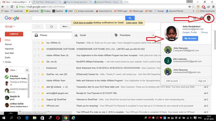 change gmail profile picture