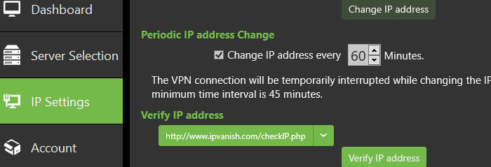 ivanish ip change