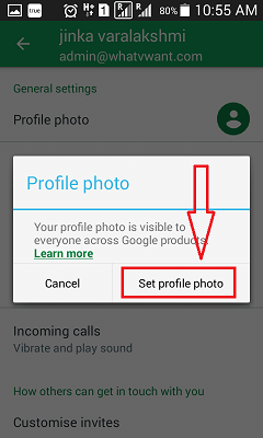 Set Gmail profile photo