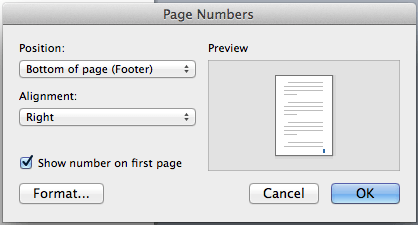 Add page numbers to word document on Mac