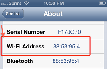 Find MAC address on iPhone