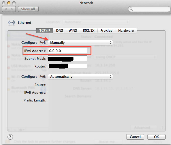 Setting up a static IP in Mac