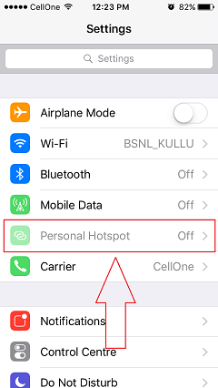 iphone settings with personal hotspot