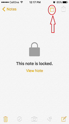 lock iphone note