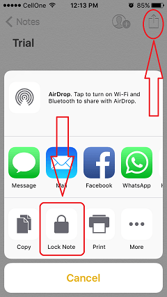 password protect notes ios