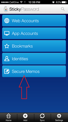 sticky password notes on iphone