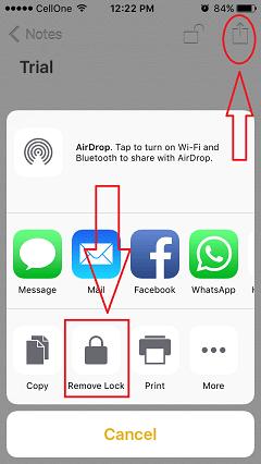 unlock notes on iphone
