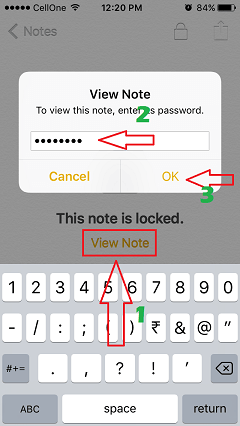 view locked notes on iphone