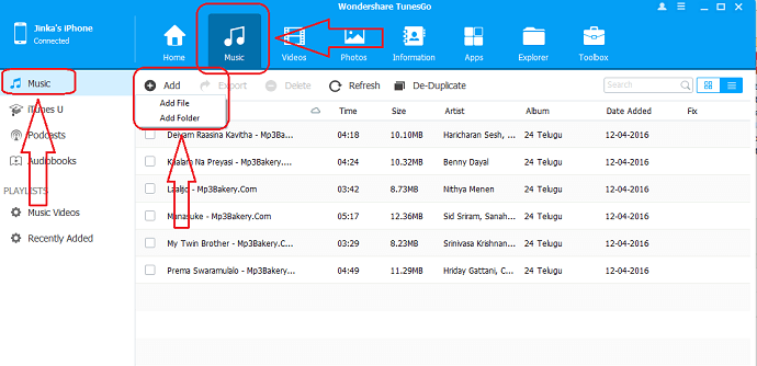 Transfer your music from PC to iphone