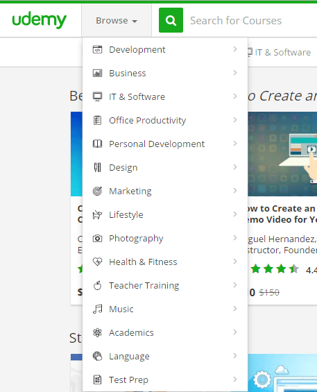 Udemy categories