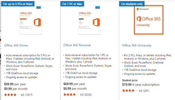 ms office 365 personal plans