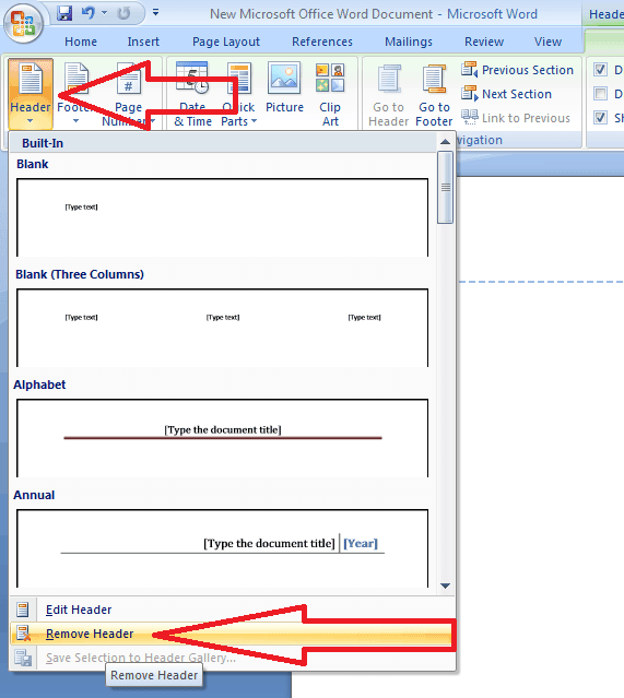 remove header in word