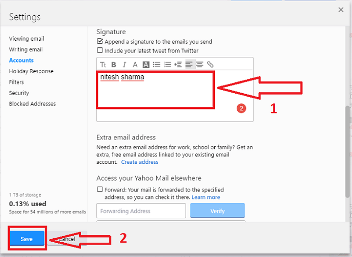 How to add signature to Yahoo mail