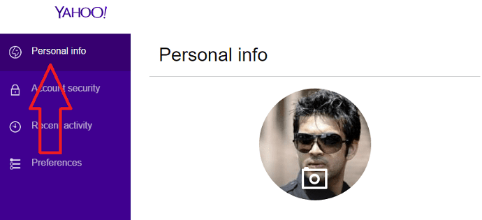 change profile picture in yahoo mail