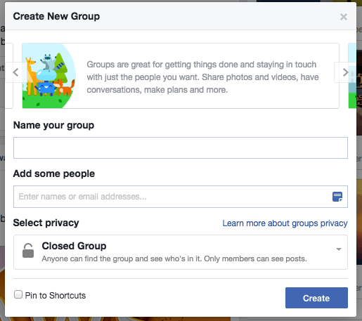 Create a group on Facebook