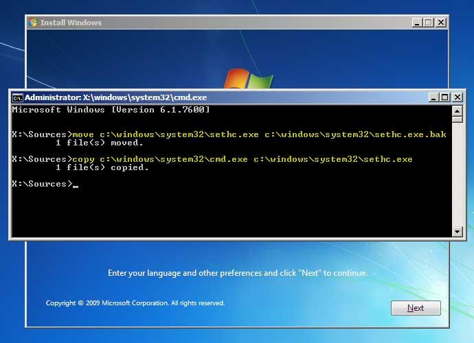 forgot password for windows 7