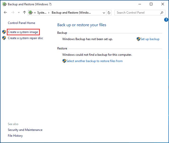 Windows 10 image backup
