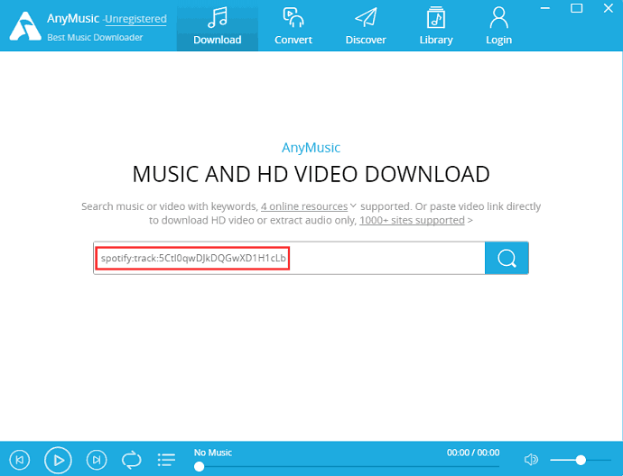 Paste URL AnyMusic