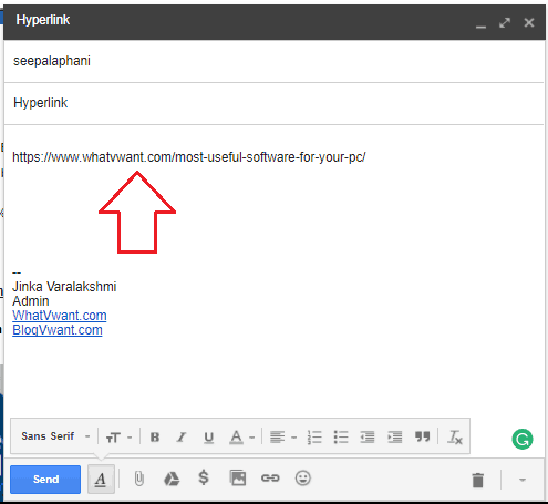 Add hyperlink to Email