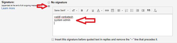 Gmail singnature