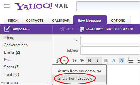Send pictures on Yahoo mail