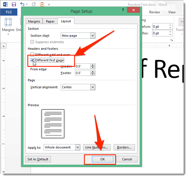 Remove Page Number ms word